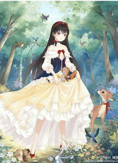 Snow white with long hair art princesa de anime, princesas disney anime, ve Anime Disney Princess, Disney Princess Drawings, Disney Drawings, Cute Drawings, Disney Anime Style, Drawing Disney, Cartoon As Anime, Chica Anime Manga, Disney Fan Art
