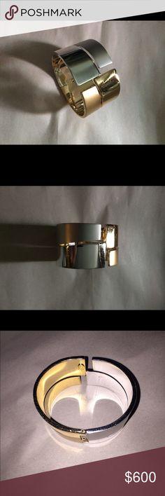 LANVIN vintage hinged BRACELET gold/silver vintage 1960's hinged two tone silver & gold bracelet Lanvin Jewelry Bracelets