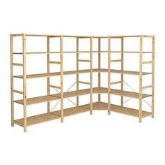 IKEA - IVAR, 4 elementen/hoek, Onbehandeld massief hout is een slijtvast natuurmateriaal dat je nog duurzamer en onderhoudsvriendelijker maakt door het oppervlak te behandelen met olie of was.Verstelbare planken, de afstand is naar behoefte aan te passen.Wil je het meubel meer persoonlijk maken, dan kan je het lazuren of schilderen in je favoriete kleur.