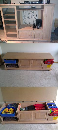 Old Entertainment Center turned into Child's Toy box!
