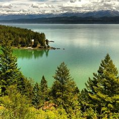 Flathead Lake, Montana.  This is the actual color of the water when there are clouds overhead.