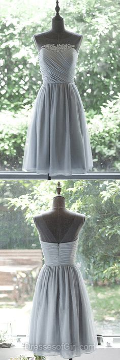 Grey Prom Dresses, Short Formal Dresses, Chiffon Evening Dresses, Cheap Homecoming Dresses, Low Back Party Dresses