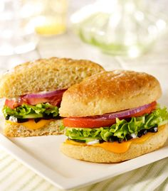 Fresh Veggie Sandwich at Schlotzskyswith cheddar cheese, cucumber slices, red onion, tomato and lettuce with fat-free spicy ranch dressing and black olives on a toasted wheat bun.  Just one of their many Healthy Dining menu choices - find them all here.