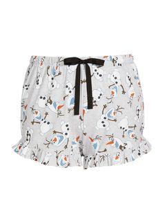 Plus Frozen Olaf Flutter Mini Short Grey Marle - Peter Alexander Online Mini Shorts, Pajama Shorts, Disney Olaf, Plus Size Pajamas, Olaf Frozen, Disney Fashion, Disney Style, Pjs, Casual Shorts