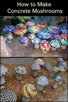 These concrete mushroom lights would make great additions to your garden. These concrete mushroom lights would make great additions to your garden.,Beton Gibs Fimo These concrete mushroom lights would make great additions to your. Concrete Crafts, Concrete Art, Concrete Projects, Concrete Garden, Painted Concrete Steps, Cement Art, Decorative Concrete, Concrete Design, Concrete Planters