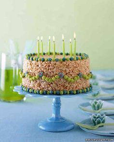 Make a no-bake birthday cake ENTIRELY OUT OF RICE KRISPIES.