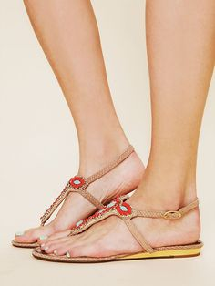 Free People Jasmine Bead Sandal, $100.00...I'm addicted to these. Zappos has other color combos--AND they're not completely flat!