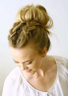 100 Trendy Long Hairstyles for Women: Double Dutch Braided Messy Bun