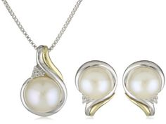 SG Sterling Silver and 14k Yellow Gold Freshwater Cultured Pearl and Diamond Pendant Necklace and Earrings Set... $119.00