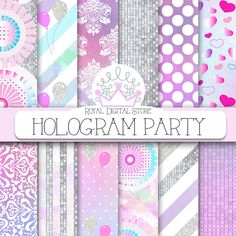 "Unicorn party digital paper: "" HOLOGRAM PARTY"" with unicorn backgrounds, watercolor patterns for party invitations, planners, cards #partysupplies #watercolor #damask #digitalpaper #scrapbookpaper #pink #glitter #planner"