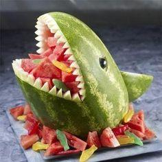 Shark watermelon sculpture