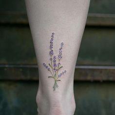 Lavender flower tattoo by Georgia Grey