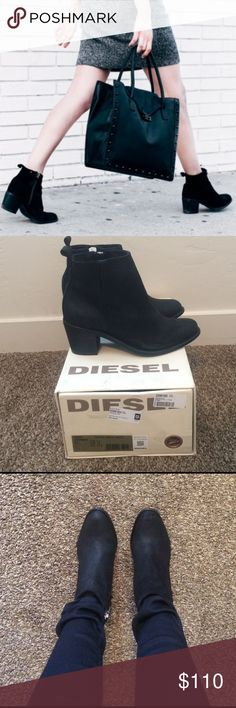 """NWT* Diesel Pinky Boots The most amazing boots!! Brand new in the box! As seen on Lily Collins- 100% Cow Leather. Rubber sole Shaft measures approximately 4.5"""" from arch Classic boot style in unique treated suede upper with a 2.5 inch heel height for everyday wearabality. Internal side zipper Diesel Shoes Ankle Boots & Booties"""