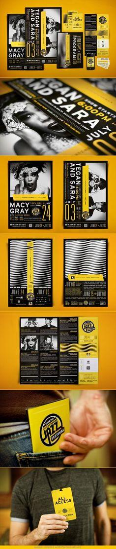 """Saskatchewan Jazz Festival 2011 A nivel de color sabemos que la mejor manera de que """"forma y contra forma""""  tengan el mayor contraste y llame la atención es usando el negro y el amarillo, pero este trabajo para mi no solo logra su objetivo con el color que de por si le ayuda mucho, es la diagramación y la tipografía."""