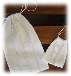 Drawn Thread Bags - could be a gift bag...a fancier one could be a bride's purse...a place to hold memorabilia...a rosary bag... bolsas de vainica