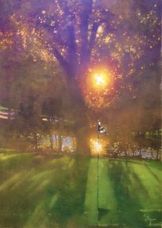 """""""Sun-dappled golf course"""" - by Bernie Fuchs Shop for the best in Golf Push Carts and More at  http://bestgolfpushcarts.net/product-category/golf-push-carts/bag-boy/"""