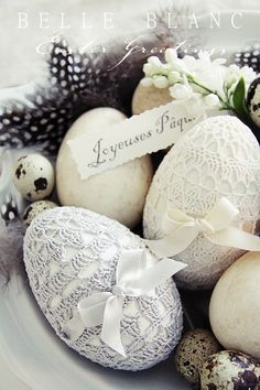 Lace Eggs. Love these, would look great in a fabric lace basket