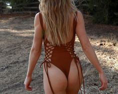 June Lace-Up High Hip Thong One Piece Swimsuit