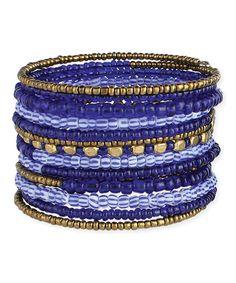 ZAD Blue Coil Bead Stretch Bracelet