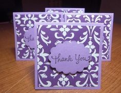 Purple Damask - Mini Cards ( Set of 4) by LittlePinkKangaroo $2.99 #paper_goods #cards #thank_you #mini_cards #cardstock #littlepinkkangaroo #note #set #handmade #cards #mini #damask #purple_damask #scallop #deep_purple #3D