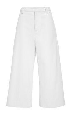 White Denim Gaucho Pant With Cuff by for Preorder on Moda Operandi