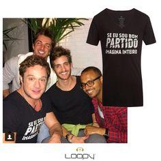 """O Helinho Calfat com a nossa camiseta Bom Partido que diz """"Se eu sou bom partido imagina inteiro"""". TOP!  Disponível na Loopy e no e-comm.   #loopy #loopyoficial #loopyteam #vesteloopy #2014deloopy"""