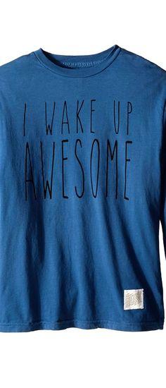 The Original Retro Brand Kids I Wake Up Awesome Long Sleeve Tee (Big Kids) (Blue) Boy's T Shirt - The Original Retro Brand Kids, I Wake Up Awesome Long Sleeve Tee (Big Kids), RB400B-RTF1752A-401, Apparel Top Shirt, T Shirt, Top, Apparel, Clothes Clothing, Gift, - Street Fashion And Style Ideas