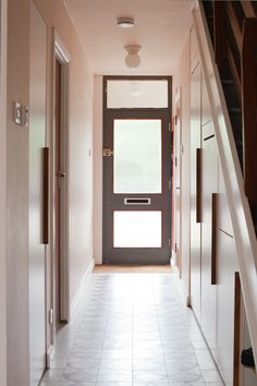 entrance hallway - 'mosaic del sur' concrete ceramic floor tiles, F&B pink ground colour walls, bespoke under-stair joinery Pink Hallway, Entry Hallway, Hallway Ideas, Entryway Flooring, Entryway Decor, Ceramic Floor Tiles, Tile Floor, Stairs Joinery, Small Entry