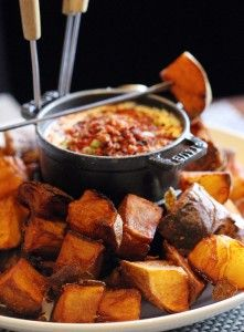 Potato Skin Fondue at Stark's Steakhouse, sounds sooooo good! (with a loaded cheese sauce)