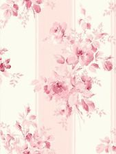 Wallpaper Vintage Cottage Pink and Eggshell White Stripe with Floral Roses