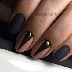 Black and beige nails, Luxurious nails, Matte nails, Matte nails with rhinestones, Modern nails, New Year nails 2018, New year nails ideas 2018, New years nails