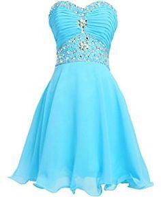 Fashion Plaza Short Chiffon Strapless Crystal Homecoming Dress D0263