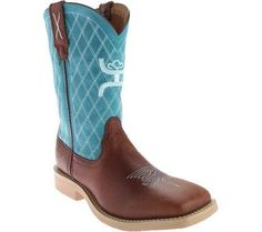 Twisted X Boots Unisex Children's YHY0006 Cowkid's Hooey Cowboy Boot Cognac/Turquoise Leather Size 4.5 M, Blue
