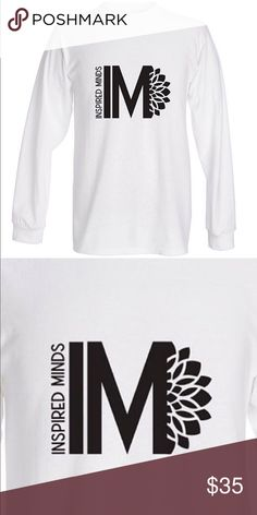 Inspired minds white long sleeve top black logo Long sleeve with my logo  design Inspired minds Can be worn by men or women Shirts Tees - Long Sleeve 2ed4d5489