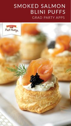 Add an upscale twist to your dinner party plans with these Smoked Salmon Blini Puffs. This appetizer recipe combines Pepperidge Farm® Puff Pastry Sheets with lemon zest and caviar to make a bite-sized seafood dish that's sure to be a hit at every entertaining event.