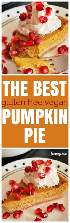 The Best Gluten Free Vegan Pumpkin Pie: So creamy, seriously addictive, and only 9 ingredients! This pumpkin pie recipe is dietary restriction-friendly, as it is gluten free, vegan, dairy-free, and refined sugar-free! A happy Thanksgiving, indeed! || fooduzzi.com recipes
