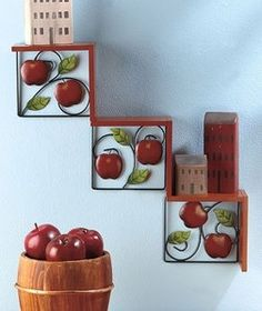 Image detail for -Country-Red-Green-Apple-Step-Like-Wood-Metal-Wall-Shelf-Display . Owl Kitchen Decor, Kitchen Dinning, Kitchen Decor Themes, Red Kitchen, Kitchen Ideas, Apple Art, Red Apple, Home Crafts, Diy And Crafts