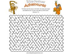 A maze activity sheet for kids from the story The Great Flood!