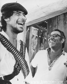 Tomas Milian and Sergio Corbucci on the set of Vamos a matar compañeros, 1970