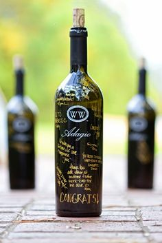 Have wedding guests sign wine bottles that double as keepsakes.