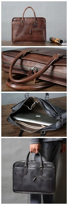 Top Grain Leather Briefcase for Men, Leather Business Bag GLT023