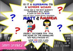 SUPER HERO Gender Reveal Invitation-DIY Printable by Simply Sprinkled
