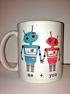 Personalized custom love robot Ceramic Coffee mug- a cute robot mug design- anniversary gift for a special someone love.