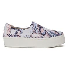Opening Ceremony Women's Slip-On Platform Sneakers - Blush Pink/Multi ($105) ❤ liked on Polyvore featuring shoes, sneakers, pink platform sneakers, stretch trainer, slip on skate shoes, platform slip-on sneakers and platform sneakers