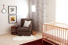 Cole and Son Woods Wallpaper Babyroom Design Nursery Interior Persian Rug  Karen Fron Interior Design | Calgary