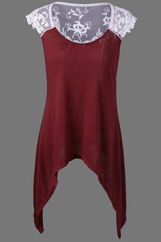 $11.45 Cap Sleeve Lace Trim Asymmetrical T-Shirt - Red With White