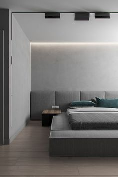 Minimal cave is a project of the small private apartment placed in Brovary, Ukraine. Designed by Ihor Havrylenko for a family who loves minimalism and gray color. They don't think about adding a lot of textures because it will make this space filled. Hotel Room Design, Bedroom Bed Design, Modern Bedroom, Master Bedroom, Modern Home Interior Design, Minimalist Interior, Luxury Home Decor, Interior Architecture, Bedroom Decor For Couples