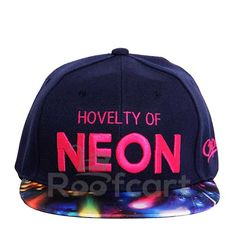 HOVELTY OF NEON SNAPBACK ( BLUE) . Official on-field cap of major league baseball. Revolutionary Wicking with Superior Drying Technology. Shrink Resistant. Very comfortable to wear with adjustable strap at the back. Hard and Sturdy Brim. The BLUE Coloured Cap and Multicolour Brim along with Neon Pink Letters make an extraordinary colour combination. http://roofcart.com/snapback/hovelty-of-neon-blue-and-multi-colour-snapback Keep Following #roofcart