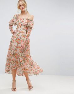 Maxi Tea Dress with Ruffle in Floral Print by ASOS. Maxi dress by ASOS Collection, Lined crinkled woven fabric, Square neck, One-shoulder design, Ruffle detail, Curved h...