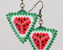 """boucles d'oreilles en perles de semences """"Watermelon"""""""